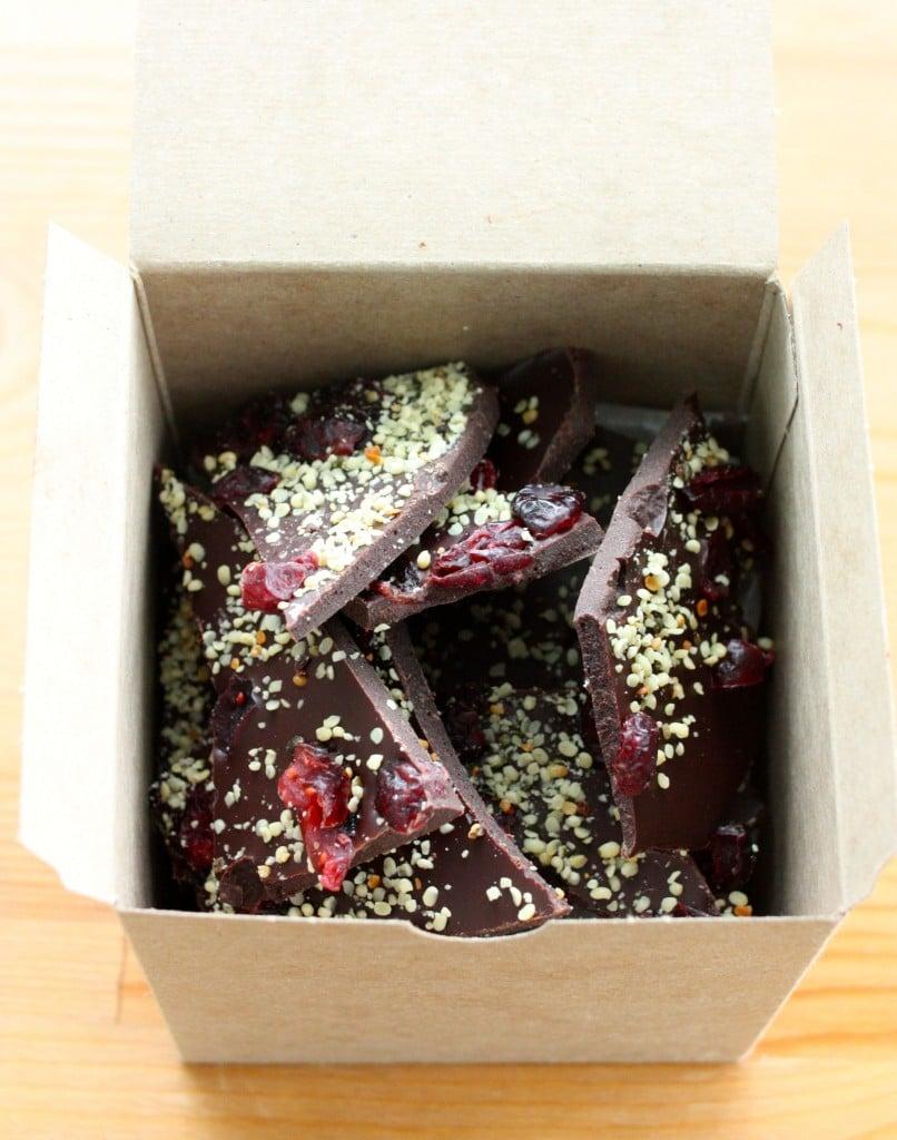 raw cranberry chocolate hemp bark boxed