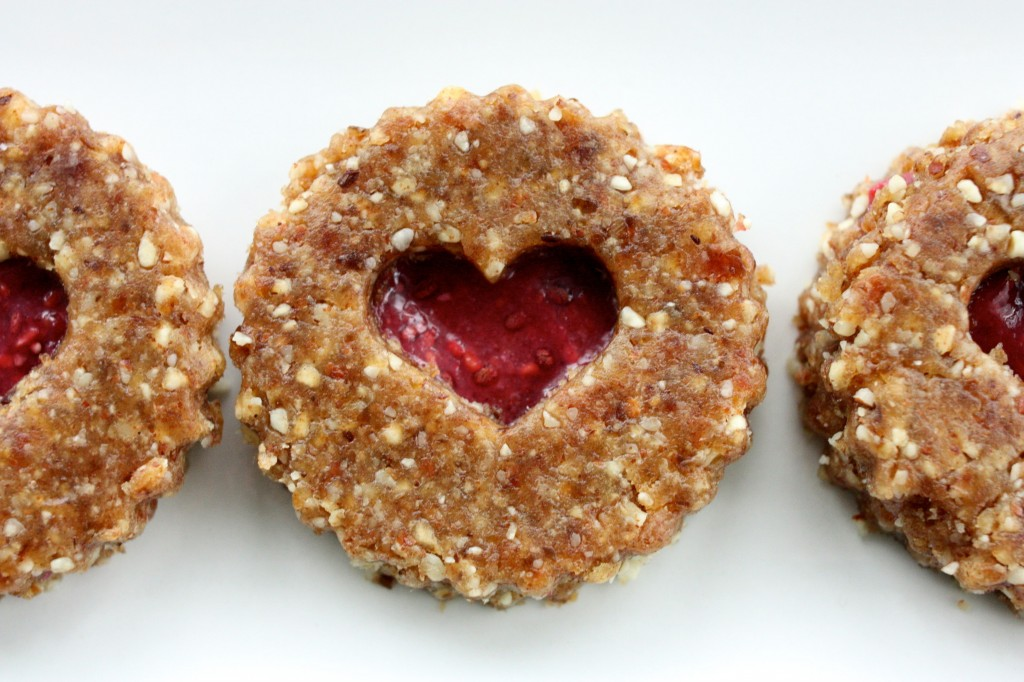 raw vegan linzer hearts close up