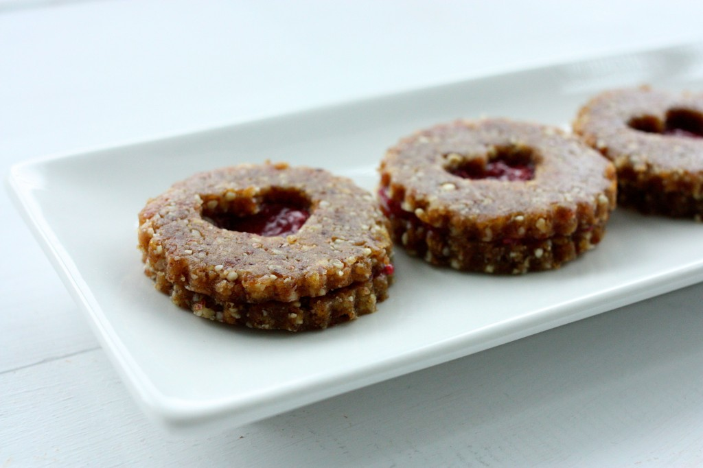 raw vegan linzer hearts side