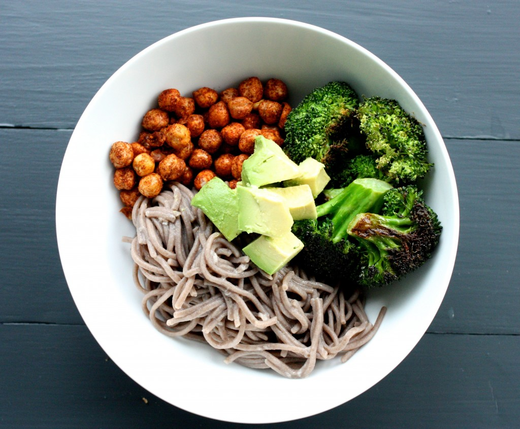 Soba Noodle, Roasted Broccoli, and Spicy Chickpea Bowl | The Full Helping