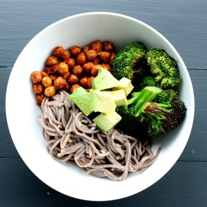 Soba Noodle, Roasted Broccoli, and Spicy Chickpea Bowl