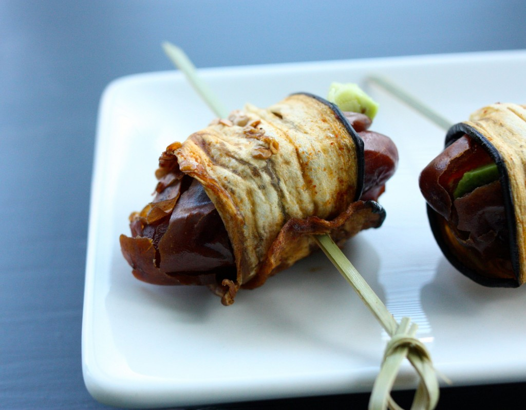 eggplant bacon wrapped dates header