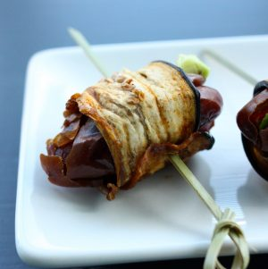Eggplant Bacon Wrapped, Avocado Stuffed Dates