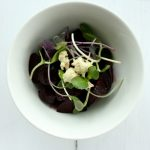 Roasted Baby Beet Salad with Cashew Cheese and Sunflower Sprouts