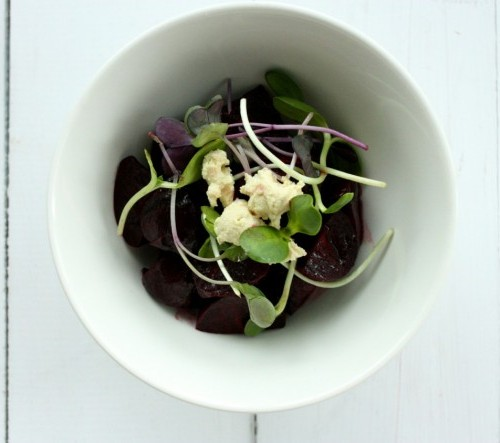 Roasted baby beet salad cashew cheese sprouts