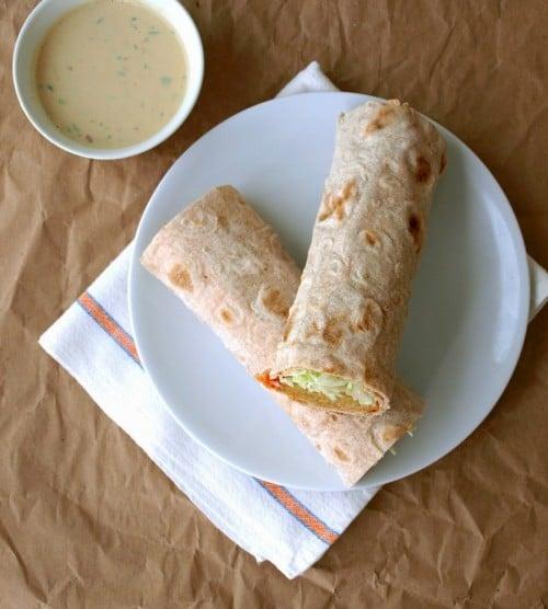 Spicy Lentil & Quinoa Wraps with Tahini Sauce