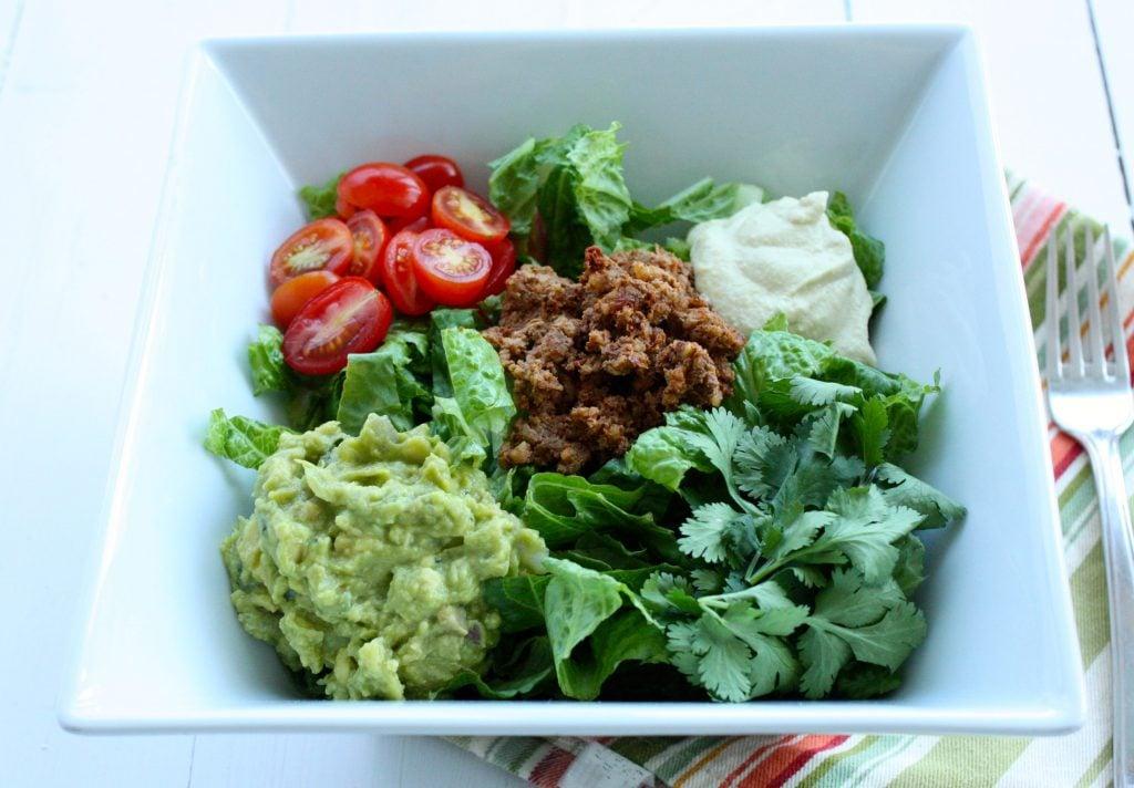 raw vegan taco salad close up 2