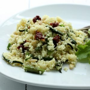 Hurry Up Vegan: Couscous with Asparagus, Zucchini, Sundried Tomatoes, and Pine Nuts