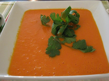 red peppper coconut soup