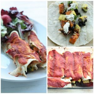 White Corn Enchiladas with Zucchini, Black Beans, Sweet Potato, and Herbed Cashew Cheese