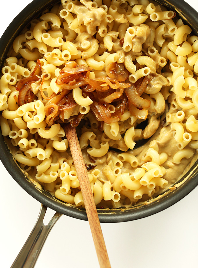 10-ingredient-Caramelized-Onion-Mac-n-Cheese-Eggplant-sauce-with-NO-cashews-creamy-unbelievably-savory-and-so-delicious.-Plus-healthy-vegan