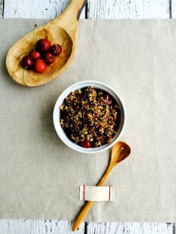 Raw, Vegan Cherry Crumble with Walnut, Date, and Chia Topping // Choosing Raw