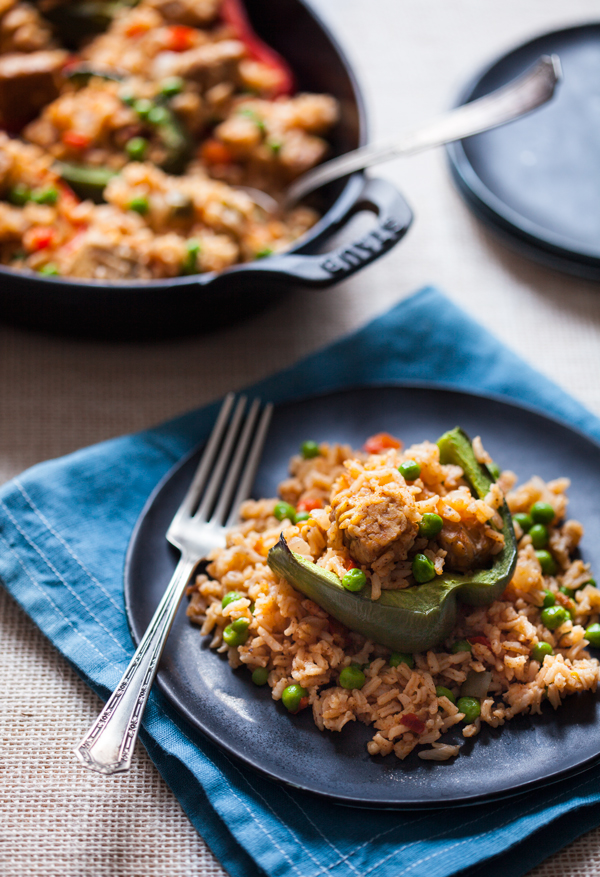 Rice and Tempeh Stuffed Peppers   A #vegan #glutenfree meal that's packed with #protein!   The Full Helping