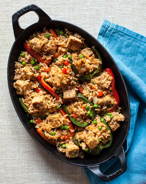 Rice and Tempeh Stuffed Peppers | A vegan, gluten free dinner that's packed with protein! | The Full Helping