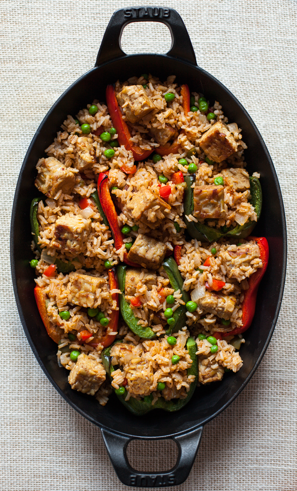 Rice and Tempeh Stuffed Peppers   A vegan, gluten free dinner that's packed with protein!   The Full Helping