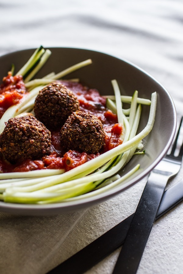 Zucchini pasta with quinoa meatless balls