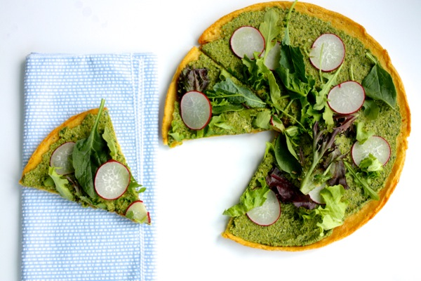 Spring Pesto Socca with Greens and Radishes // Choosing Raw