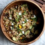 Farro Salad with Roasted Zucchini, Herbed Cashew Cheese, and Mint