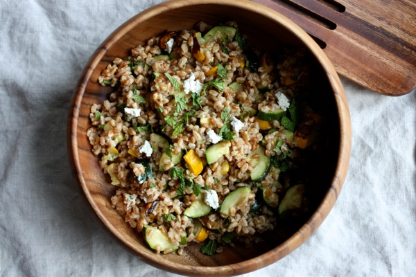 Farro Salad with Roasted Zucchini, Herbed Cashew Cheese, and Mint // Choosing Raw