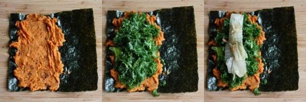 nori rolls with miso sweet potato mash, kimchee, and massaged kale salad :: choosing raw