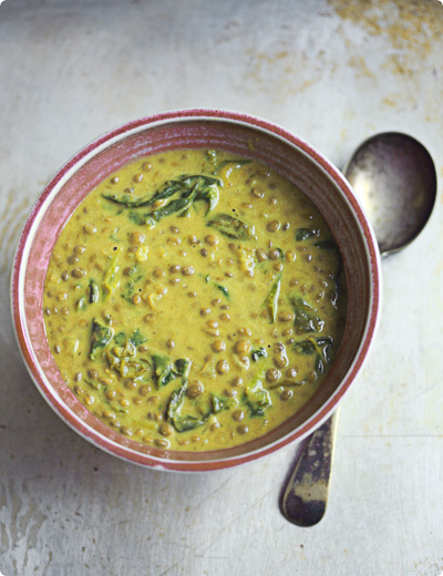 The blog post introducing this green lentil soup with coconut milk and ...