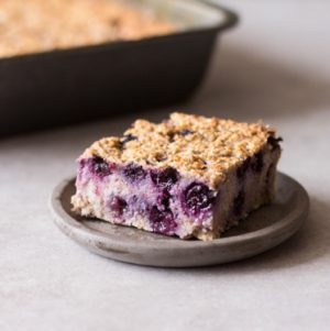 Blueberry, Banana, and Walnut Oat Bake | The Full Helping