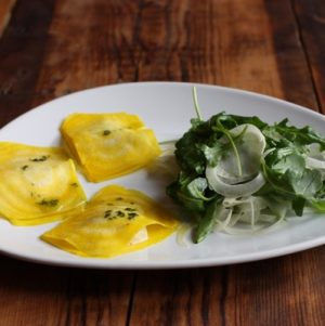 Golden Beet Ravioli with Pine Nut Cheese