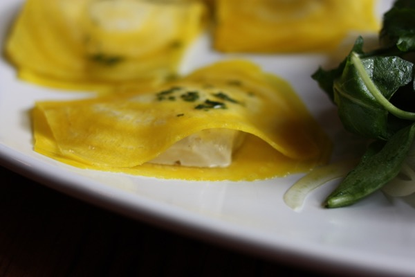 golden beet ravioli with pine nut cheese // choosing raw