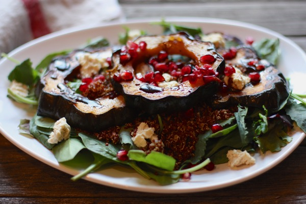 Maple Roasted Acorn Squash and Red Quinoa Salad
