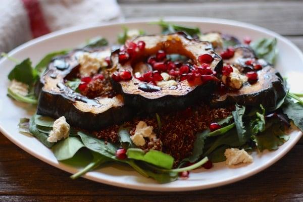 Maple Roasted Acorn Squash and Red Quinoa Salad