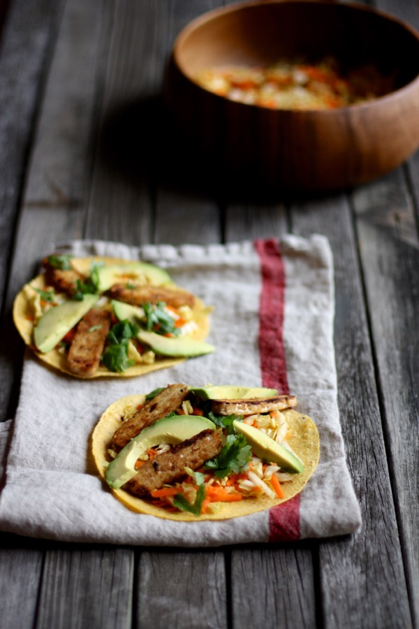 Tempeh Tortillas with Napa Cabbage Citrus Slaw
