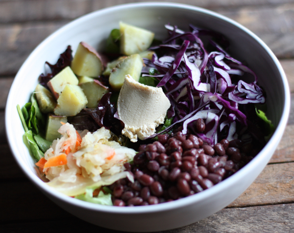 Aduki bean, Japanese yam, and cabbage bowl // Choosing Raw