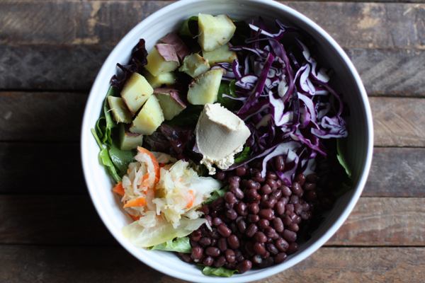 Aduki bean, Japanese yam, and cabbage bowl // Choosing Raw