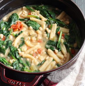 Vegan Pasta e Fagioli Soup (with a gluten free option), courtesy of Staub Cookware