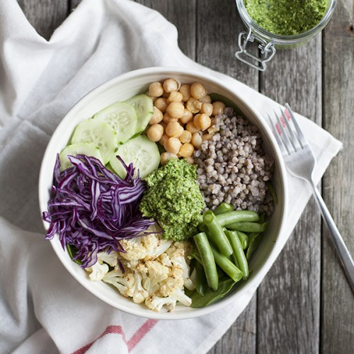 Big green lunch bowl with chimicurri // Choosing Raw