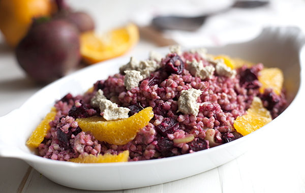 Buckwheat, beet, and citrus salad // Choosing Raw