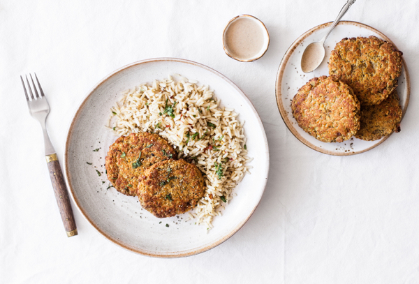 Red Lentil Quinoa Cakes with Harissa | The Full Helping