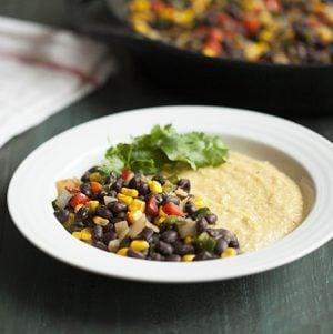 Black bean skillet scramble and cheesy polenta // Choosing Raw