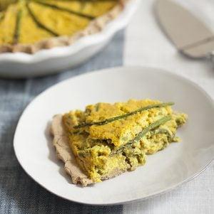 Vegan, Gluten Free Leek and Asparagus Quiche