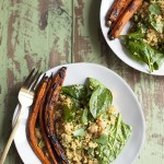Quinoa, Carrot, and Spinach Salad with Spicy Carrot Chili Vinaigrette