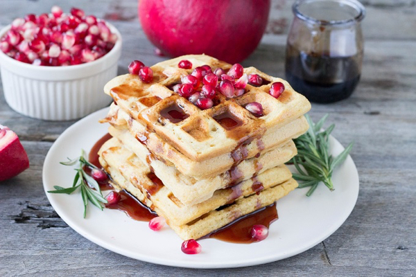 red-lentil-waffles-with-rosemary-pomegranate-syrup
