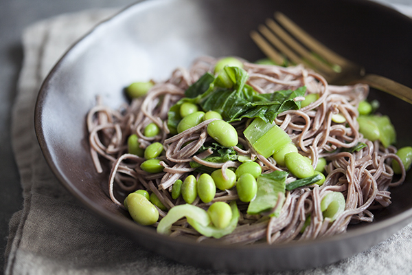 Adzuki Bean Noodles with Bok Choy, Edamame, and Miso Sesame Sauce