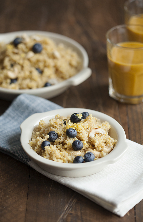 Lemon Scented Quinoa and Millet Breakfast with Blueberries