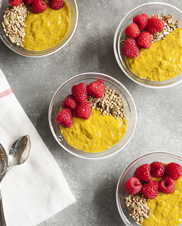 Turmeric Chia Pudding, Buckwheat, and Raspberry Parfait