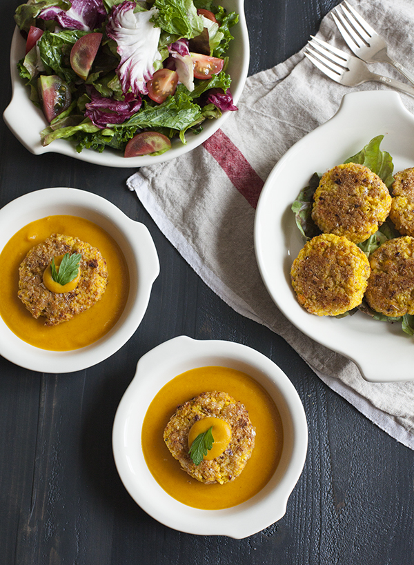 Yellow Split Pea and Millet Cakes with Carrot Miso Sauce
