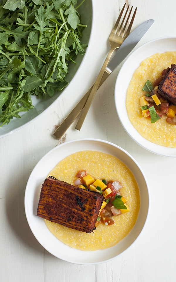 ... Polenta with Barbecue Tofu and Mango and Heirloom Tomato Salsa