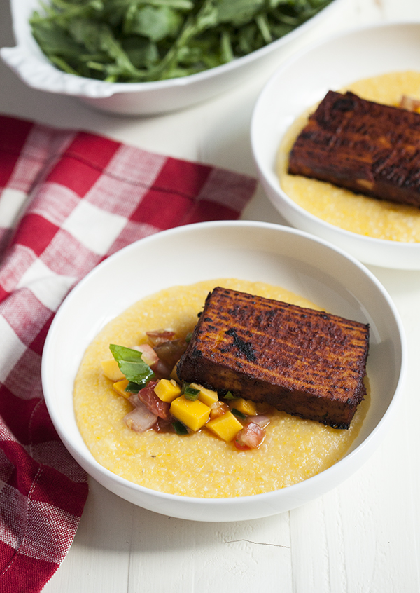 Creamy Polenta with Barbecue Tofu and Mango and Heirloom Tomato Salsa
