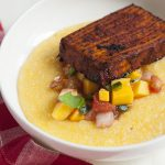 Creamy Polenta with Barbecue Tofu and Mango and Heirloom Tomato Salsa