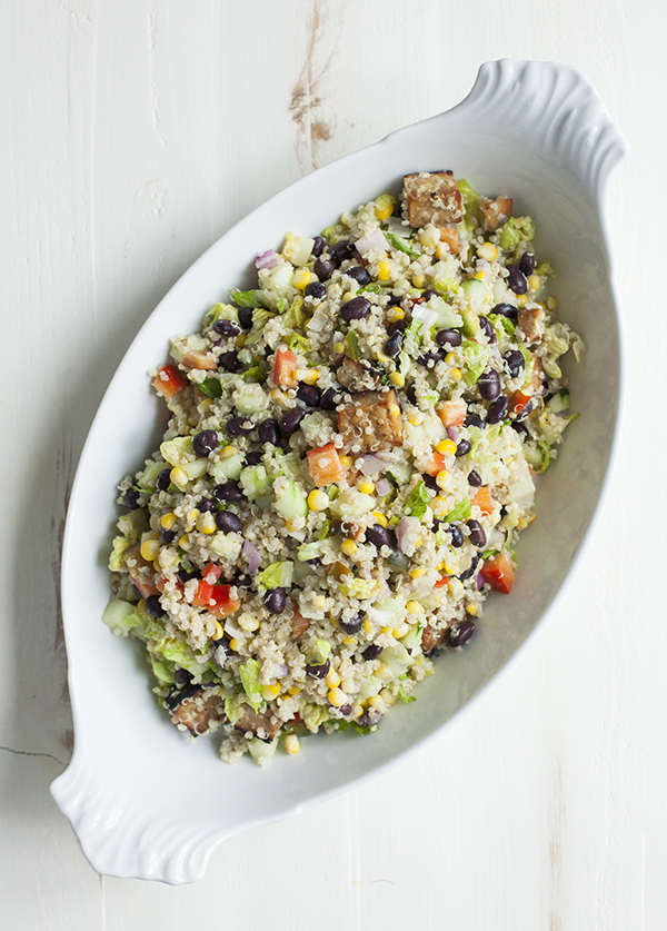 Quinoa, Corn, Black Bean, and Tempeh Salad with Creamy Cilantro Dressing