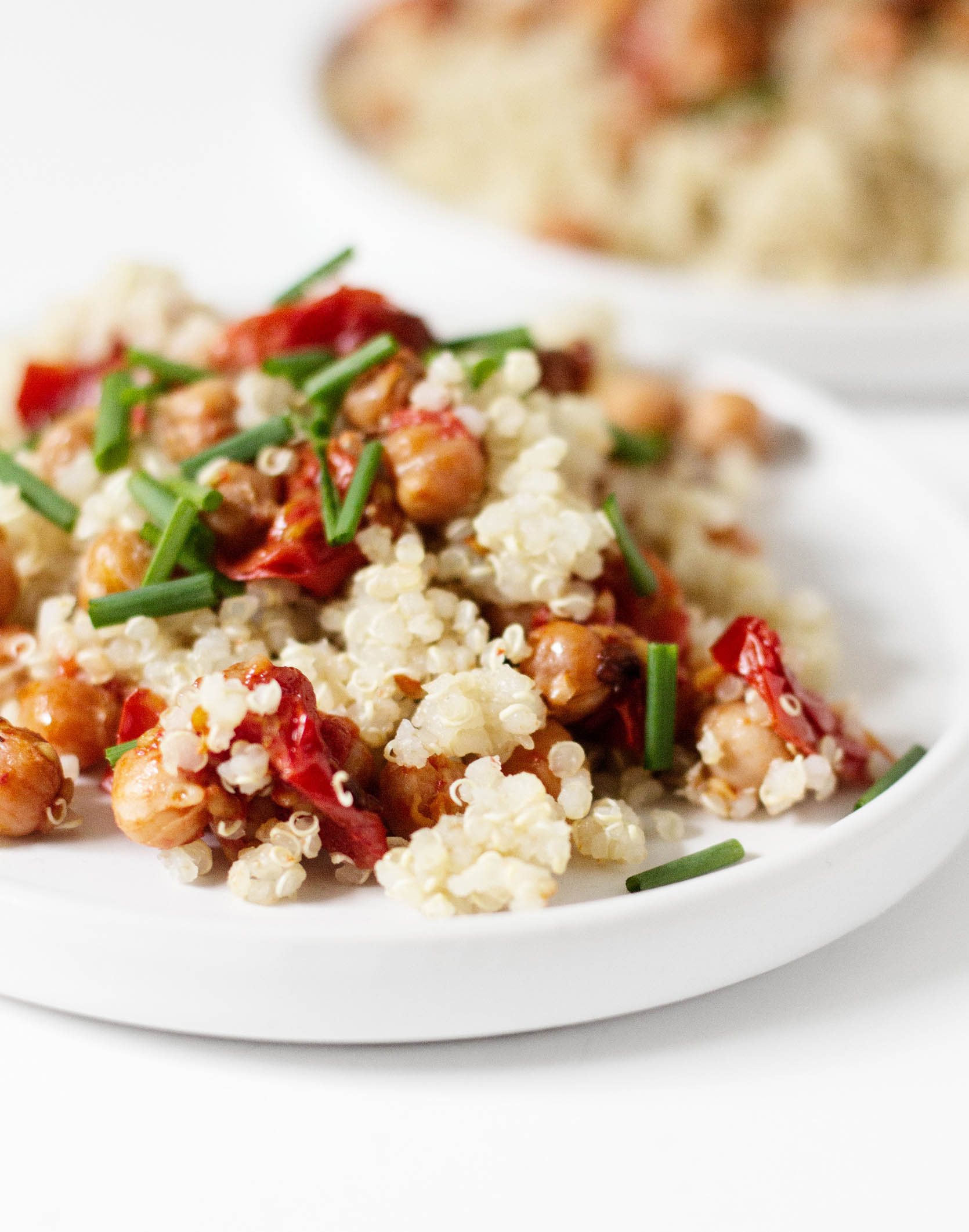 Quinoa with Garlic Roasted Cherry Tomatoes & Chickpeas